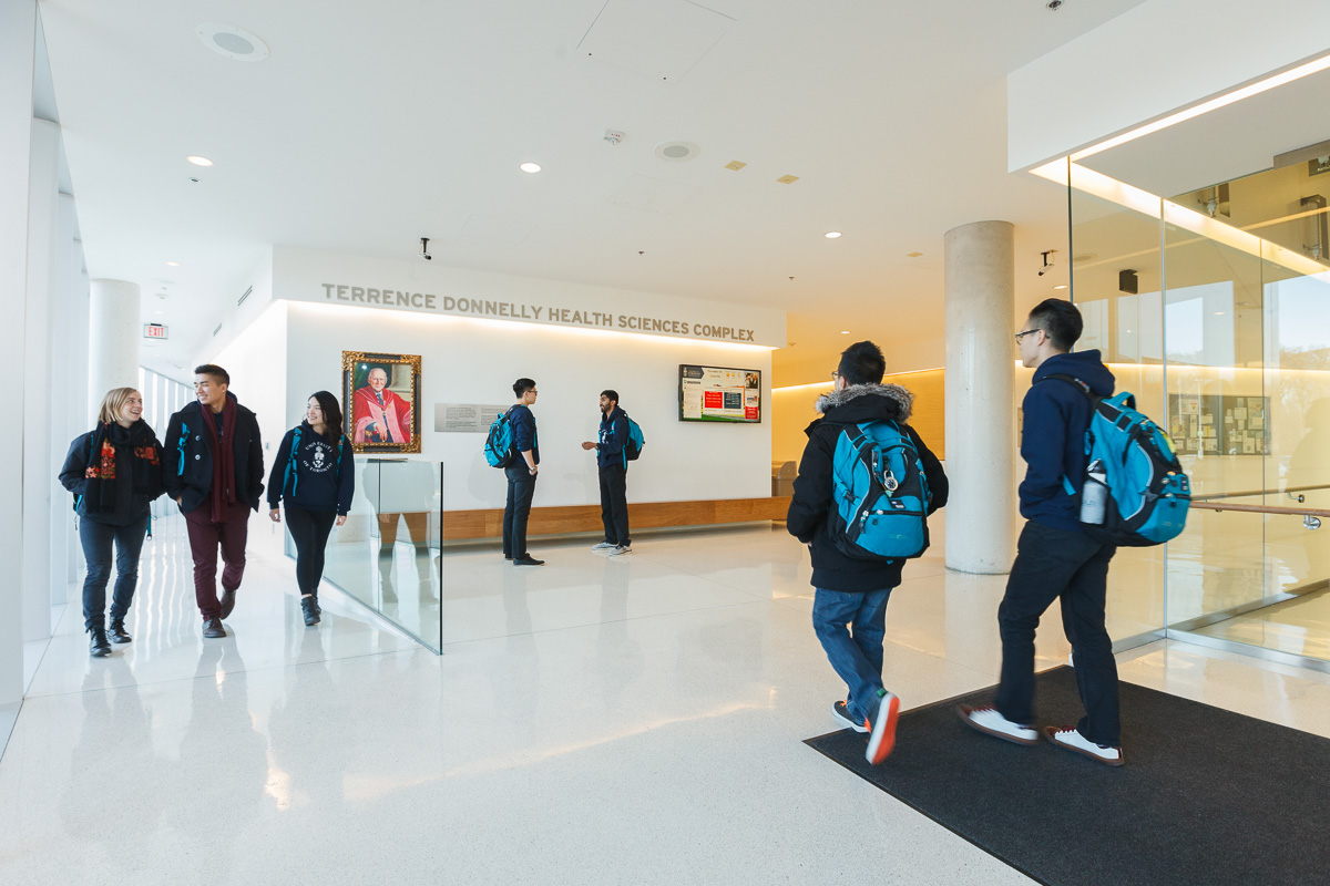 Students at the Terrence Donnelly Health Sciences Complex