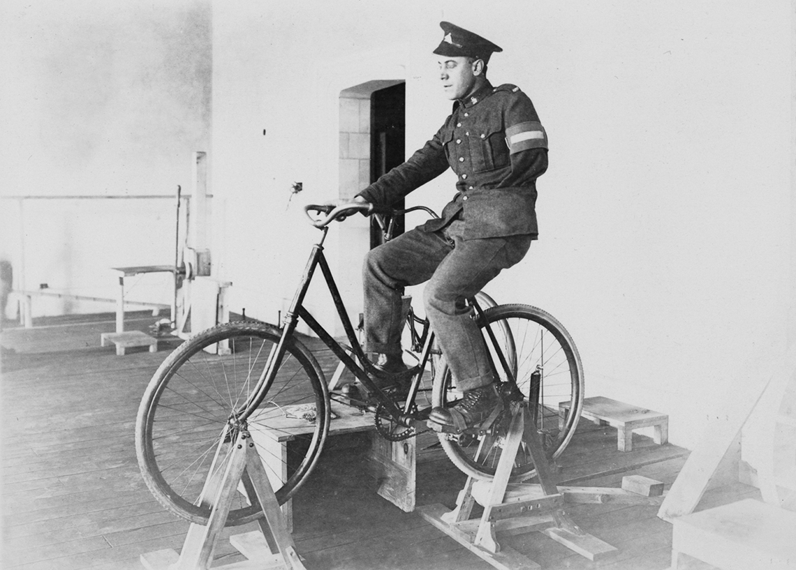 Veteran on a bike in Hart House rehabilitation course