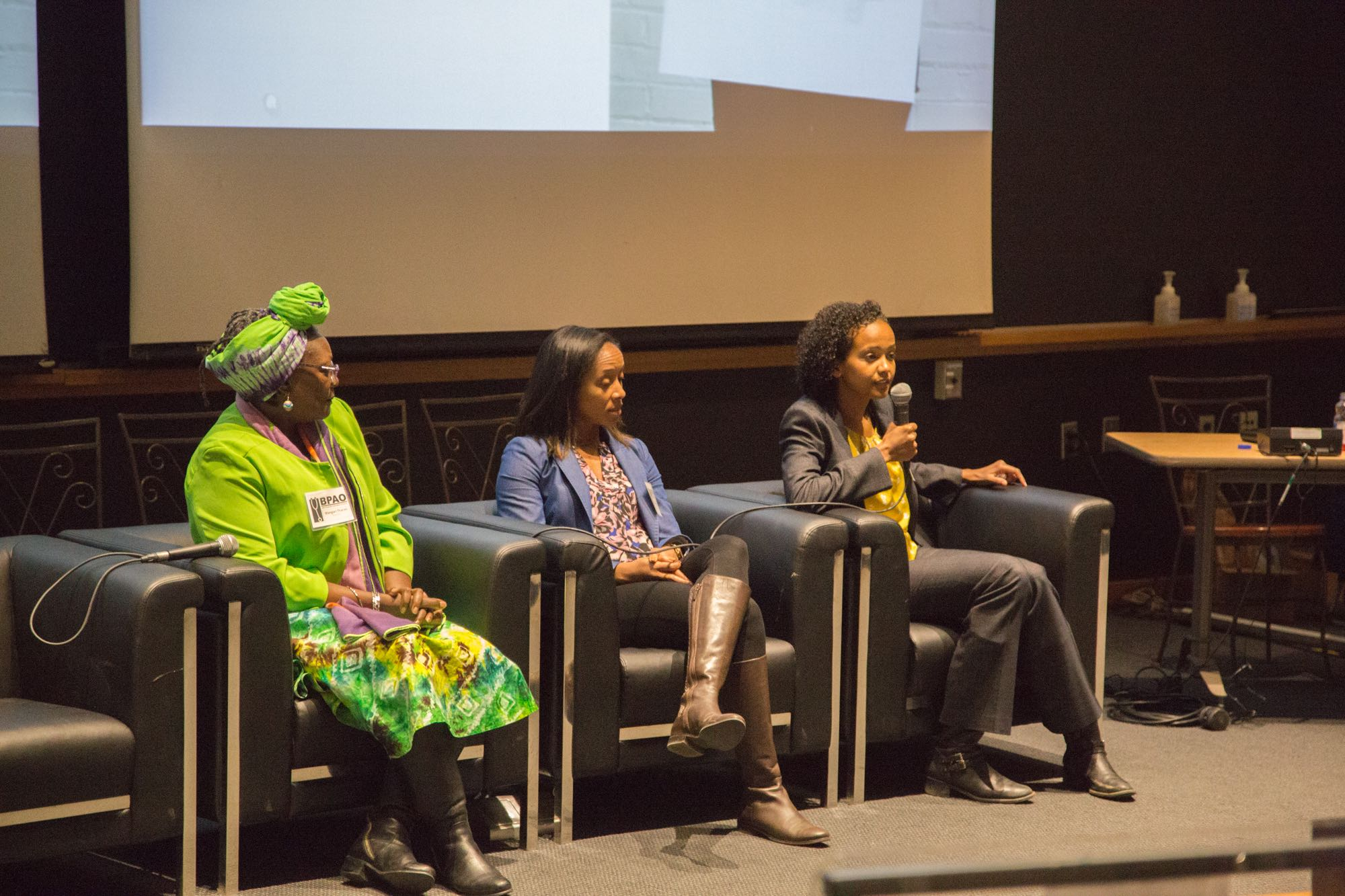 Wangari Tharao and Drs. Fahima Osman & Aisha Lofters participate in a panel discussion at the 2017 BPAO Conference.