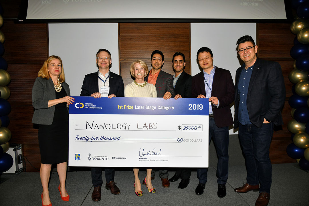 Nanology Labs won first place in the 2019 RBC Prize for Innovation and Entrepreneurship, Later Stage competition (Photo c/o U of T Entrepreneurship)