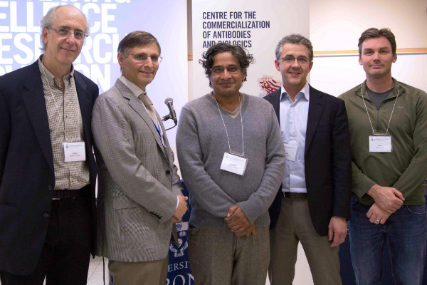 Members of the Centre for the Commercialization of Antibodies and Biologics, including Director Dev Sidhu (centre)