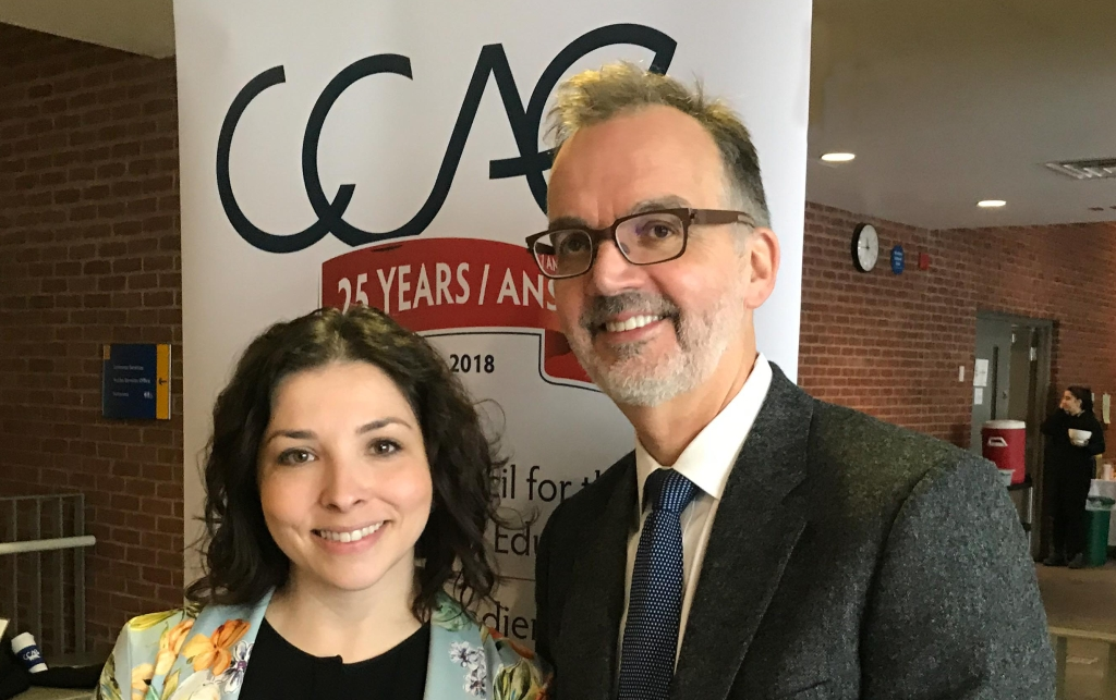 Advancement Executive Director Darina Landa and Dean Trevor Young at a Canadian Council for the Advancement of Education conference, where they were invited to present as The Dream Team - Making the Partnership Work