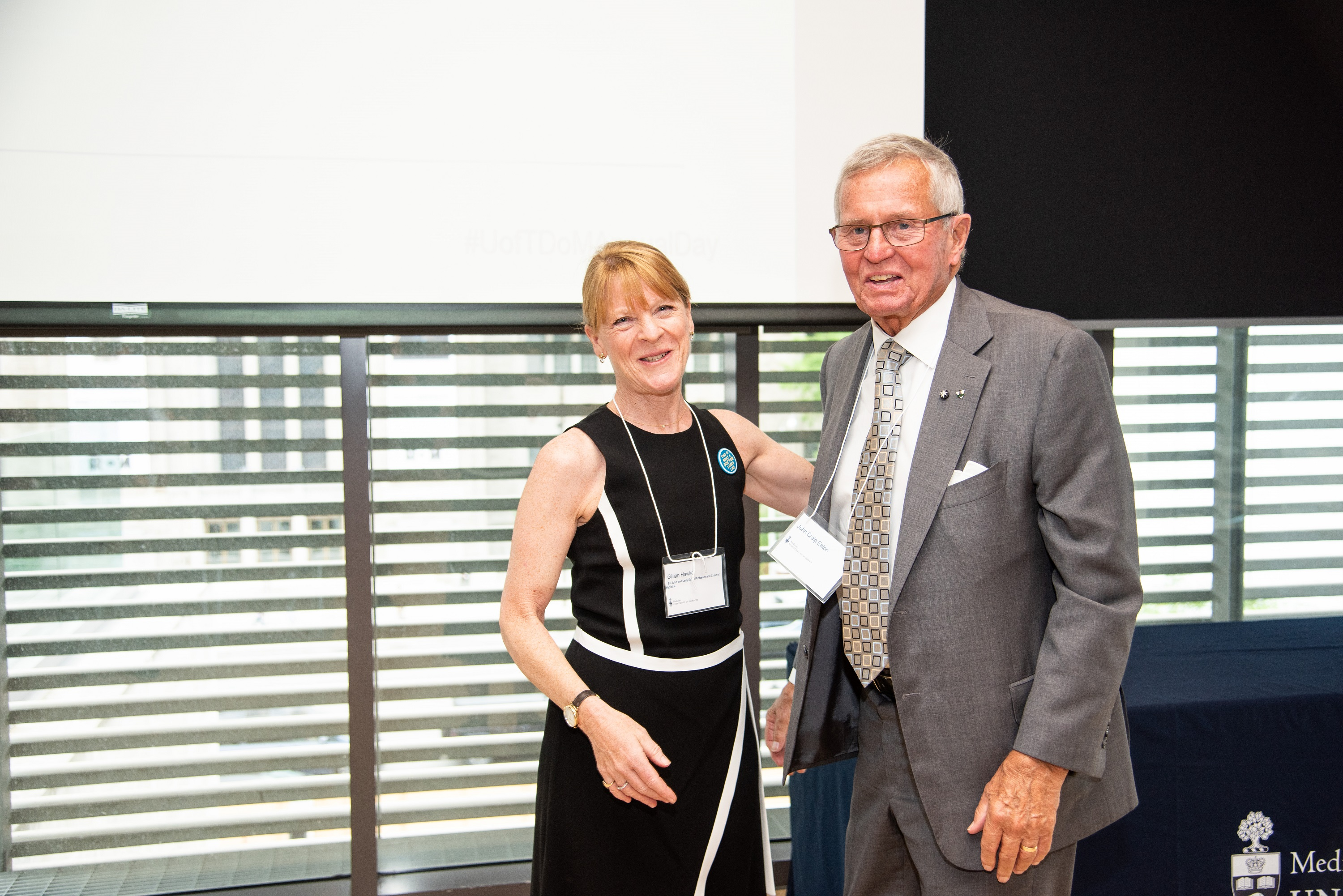John Craig Eaton II with Professor and Chair Dr. Gillian Hawker, holder of the Sir John and Lady Eaton Chair. Photo by Kenneth Chou
