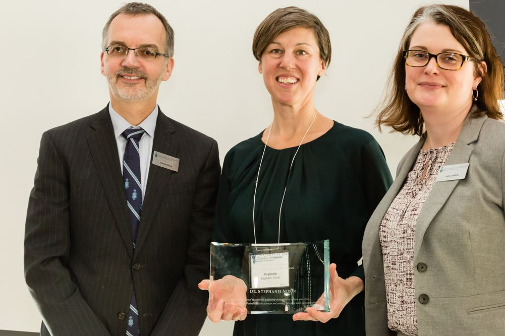 Dean Trevor Young with award winner Stephanie Nixon and Director of Alumni Relations, Julie Lafford