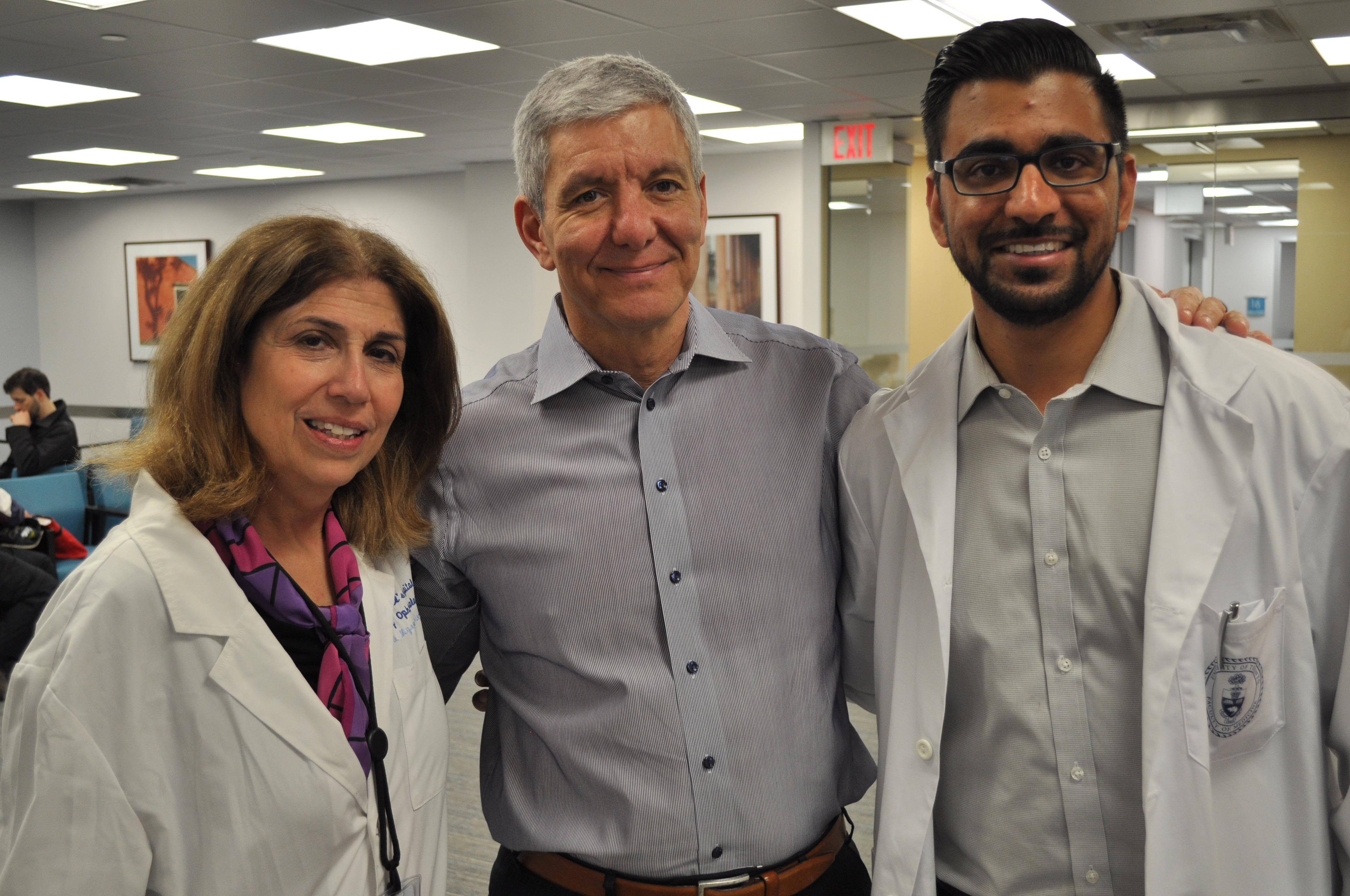 Dr. Myrna Lichter, Professor Sherif El-Defrawy (Chair of Ophthalmology and Vision Sciences) and Tarek Bin Yameen