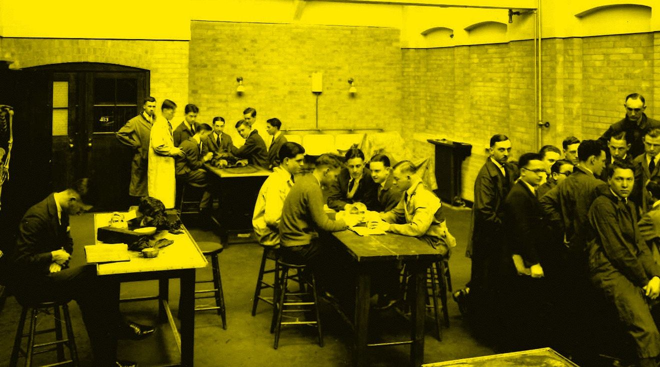 Archival image of anatomy lab