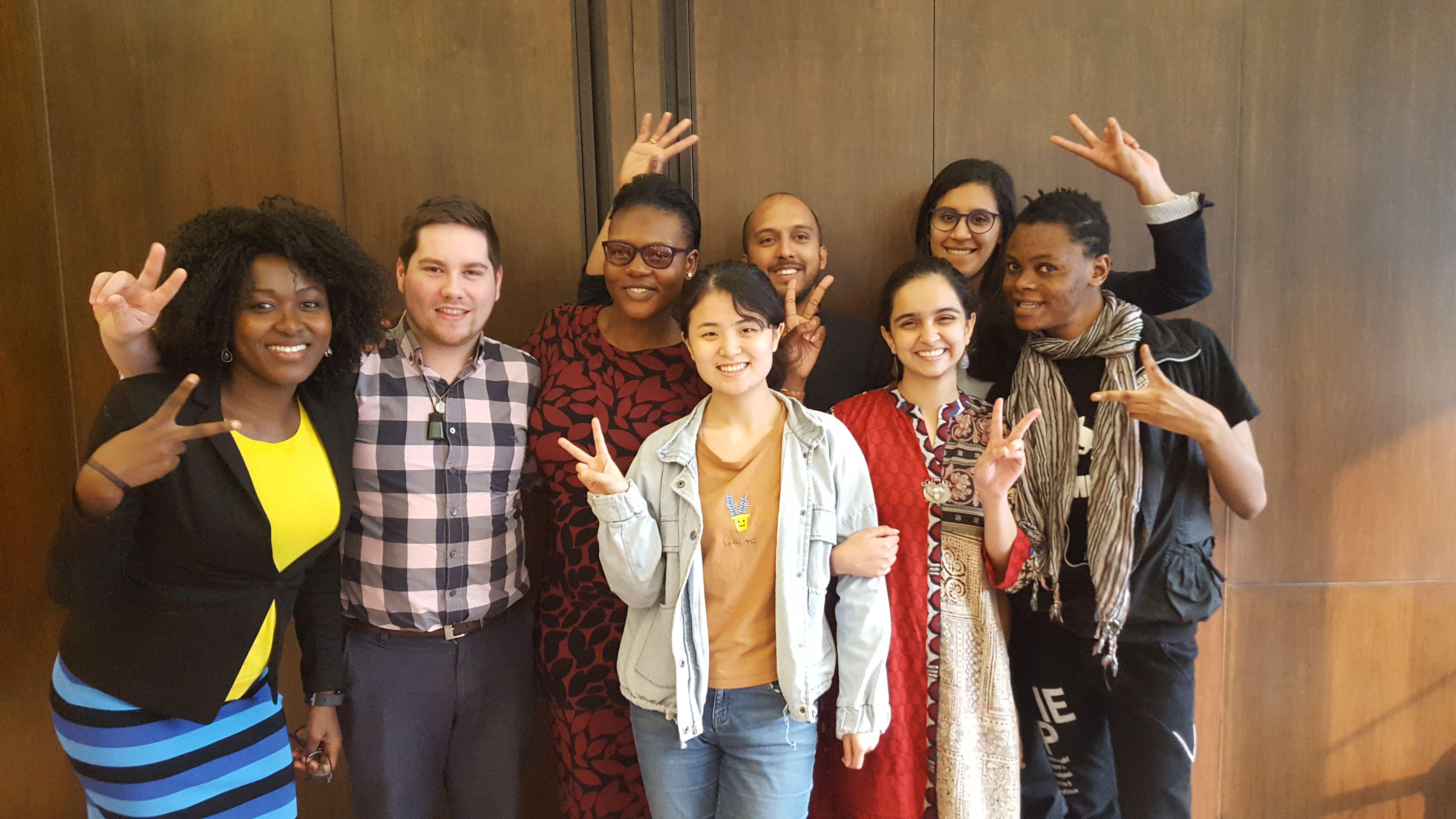 Lancet Youth Commissioners from Nigeria, New Zealand, Zambia, Sri Lanka, China, India and Uganda; U of T medical student Mariam Naguib is pictured in the top row, far right.